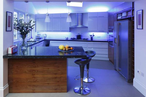 Small Kitchen With Blue Led Lighting